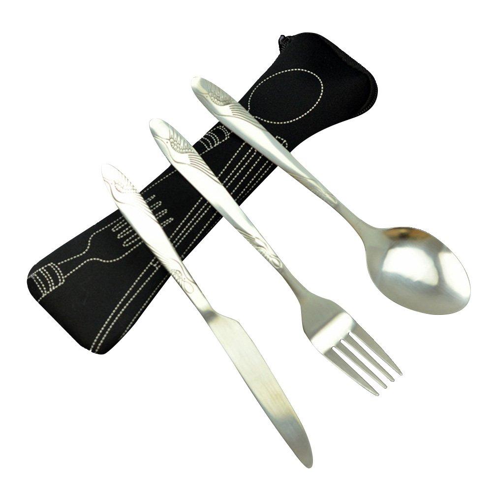 BESTONZON Set de vajilla de acero inoxidable de 3 piezas incluye cuchillo, tenedor, cuchara, bolsas - Set de cubiertos de viaje/cubiertos de viaje portátil ...
