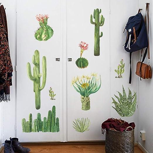 PISKLIU Pegatinas De Pared Cactus Verde Pegatinas de Pared Arte ...