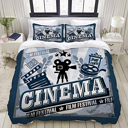 - VAMIX Duvet Cover Set, Movie Theater Twin Vintage Cinema Poster Design Grunge Effect and Old Fashioned Icons Blue Black Grey, Decorative 3 Piece Bedding Set with 2 Pillow Shams, Full Size