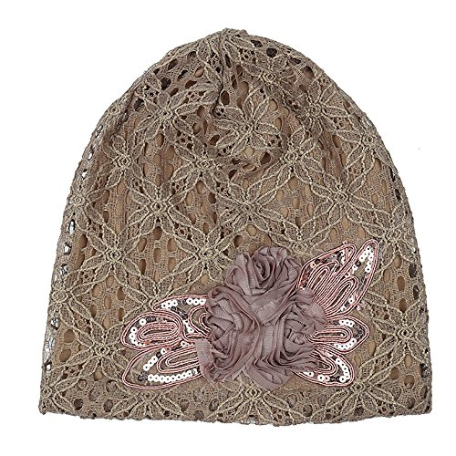 Joycentre Womens Lace Chemo Hats for Cancer Patients, Lace Flowers Fashion Hat (Camel) by Joycentre (Image #2)