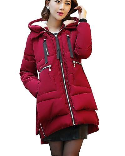 Mujer Simple Cazadoras De Invierno Abrigos Con Capucha Calentar Chaqueta Larga Vino rojo S