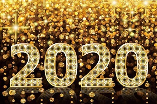 New Year 2020 Polyester Photography Backdrop 10x6.5ft Merry Christmas Background Golden Glitter Bokeh Halos Diamonds Blaze Luxury Ceremony Decor Xmas Party Winter Holiday Photo Prop Poster Video