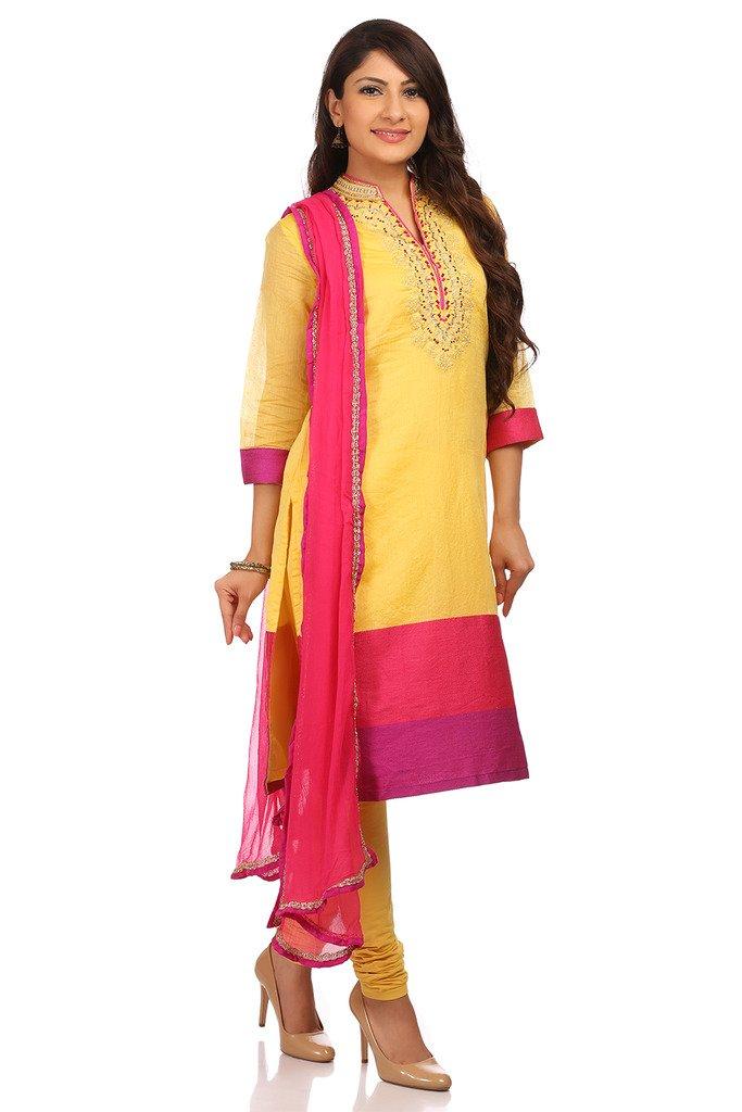 BIBA Women's Poly Cotton Straight Salwar Kameez Dupatta Suit Sets 36 Lime by Biba (Image #3)