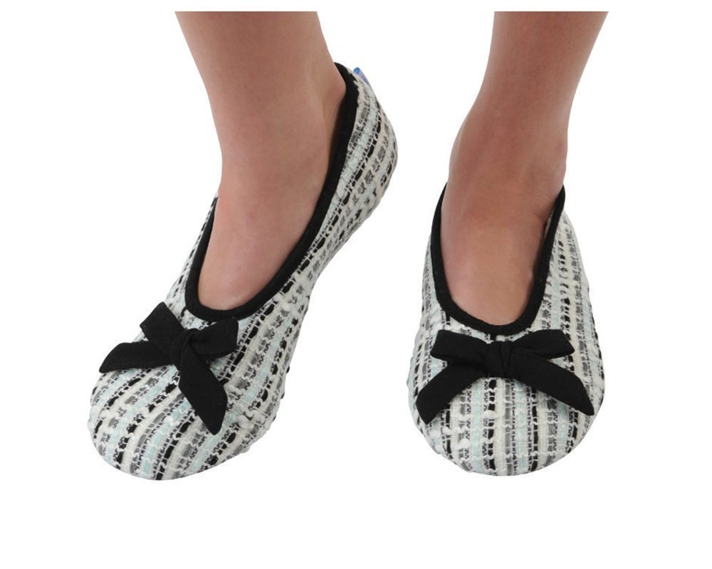 Snoozies Women's Lightweight Tweed Ballet with Bow Slipper Socks