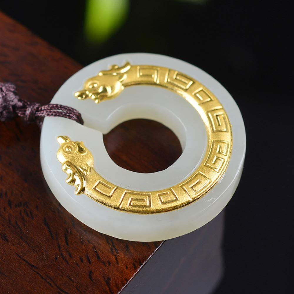 Weiduoli Necklace 24k Gold Mosaic and Hetian Jade Zodiac Dragon Pendant Mens and Womens General Jadeite Jewelry