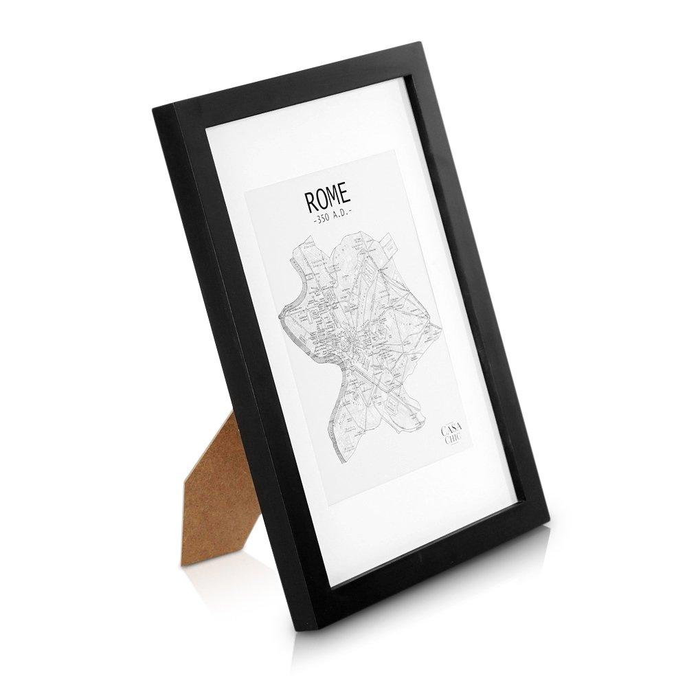 Cadre Photo A4 en bois MASSIF - Dessins / Affiches / Diplômes 21 x 29,7 cm - Passe-Partout pour Photos 15 x 20 cm inclus - Vitre en VERRE - Système d'accroche inclus - Profil de Cadre 2 cm ! - Noir product image