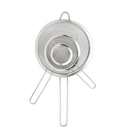 Amazon.com: Juego de 3 coladores finos de acero inoxidable ...