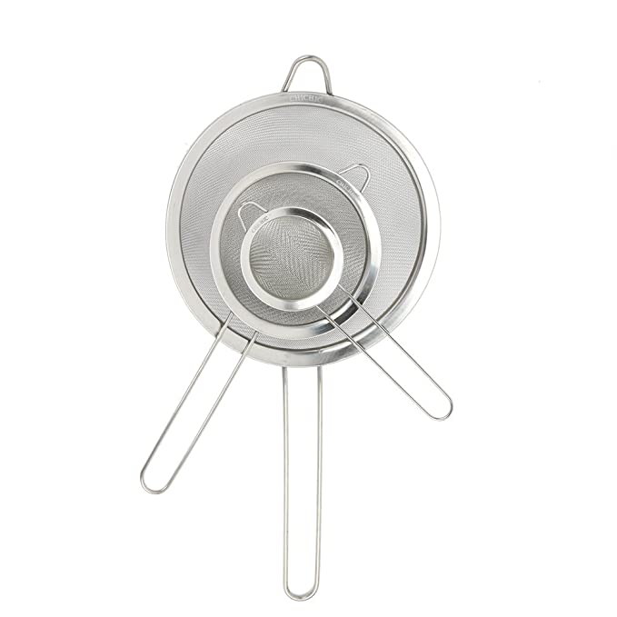 CHICHIC Set of 3 Stainless Steel Kitchen Fine Strainers Tea Fine Y Mesh Strainers Juice Egg Filter 3 Sieve Colander Sets Wire Filter Mesh for Tea ...