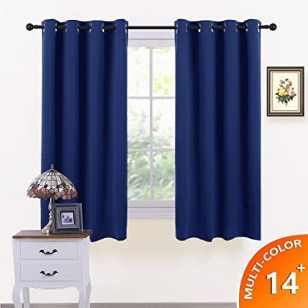 PONYDANCE Window Treatments Eyelet Blackout Curtains Thermal Insulated Top  Ring Kitchen Short Curtain Drapes For Bedroom