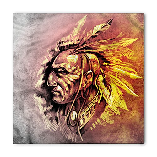 Lunarable Native American Bandana, Native Tribal Chief Illustration Grunge Style Eagle Spirit Ethnic Print, Printed Unisex Bandana Head and Neck Tie Scarf Headband, 22 X 22 Inches, Brown Yellow