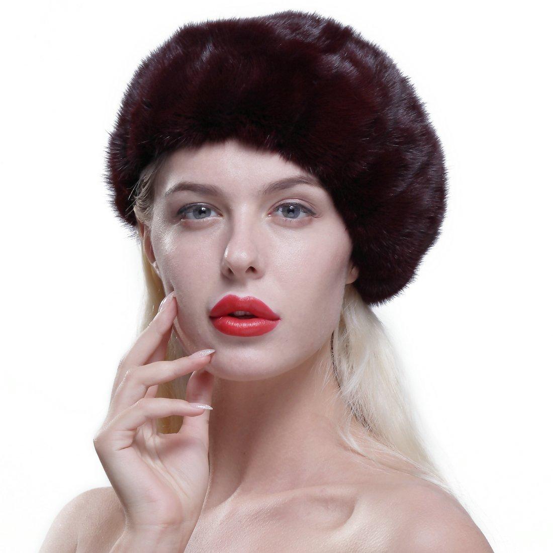 URSFUR Genuine Mink Beret Ladies Winter Fur Hat Cap Burgundy by URSFUR