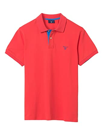 Gant MenS MenS Coral Contrast Collar Polo in Size S Red: Amazon ...