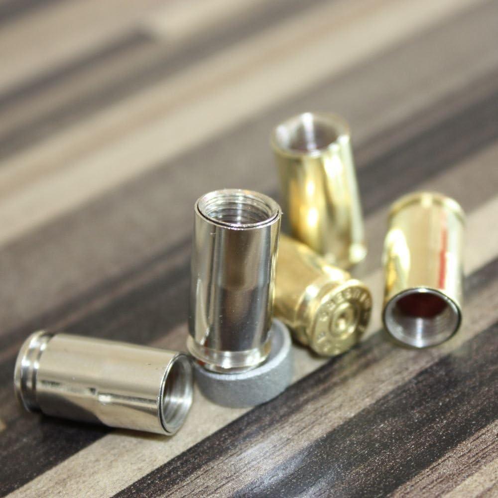 2CUSTOMIZE Tamp/ónes valvulas del original 9mm Luger Casquillos Lat/ón niquelada parece cromo 2 Piezas