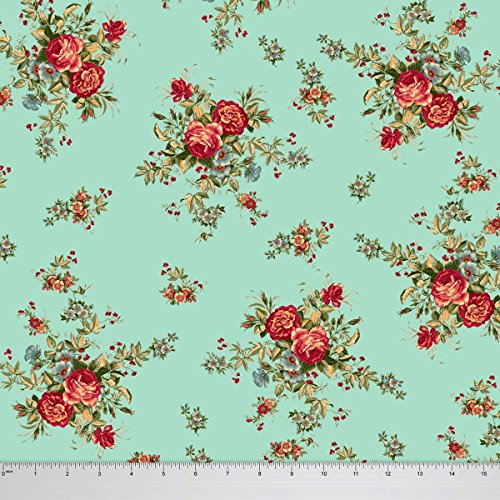 Soimoi Designer Floral Printed 56 Inches Wide 115 GSM Viscose Rayon Fabric For Sewing By The Yard - Aqua by Soimoi (Image #1)