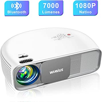 Proyector, WiMiUS 7000 Lúmenes Proyector Bluetooth Full HD 1920x1080P Vídeoproyector, Soporta 4K Proyector Cine en Casa & Dolby, 100,000H 300 Proyector LED para TV Stick, PS4, PC (HDMI, AV y USB):