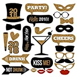 26PCS 2018 New Year's Eve Party Card Masks Photo Booth Props Supplies Decorations by 7-gost