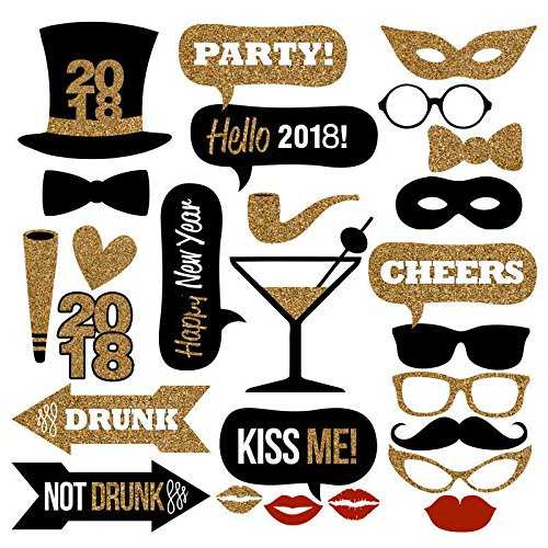 26PCS 2018 New Year's Eve Party Card Masks Photo Booth Props Supplies Decorations by (Party S)
