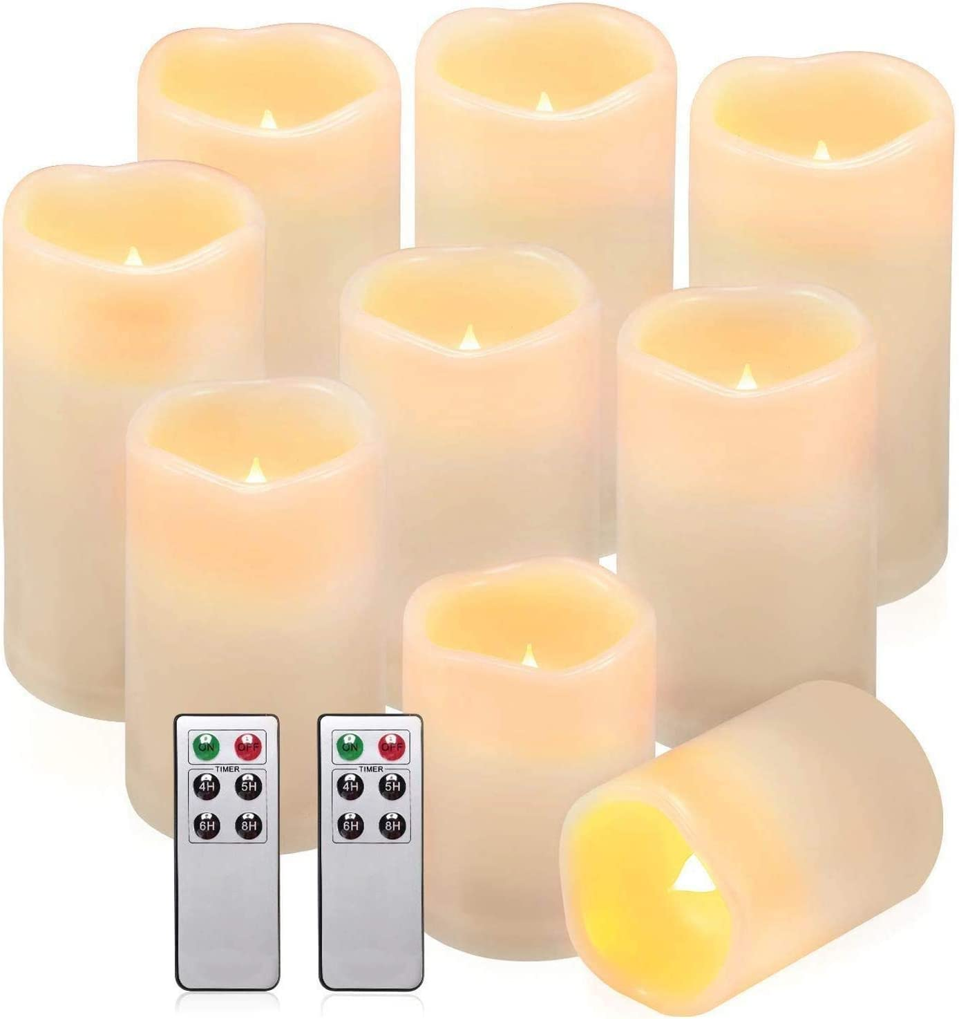 "Comenzar Flameless Candles, Waterproof Outdoor Indoor Battery Candles Set of 9(H 4"" 5"" 6"" x D 3"") Led Candles with Remote Timer"