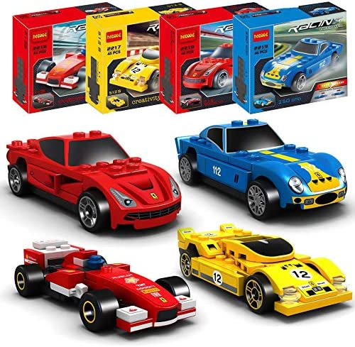 ActionEliters 176 pcs Building Blocks Car Toys Set of 4 Race Car Building Kits 3D Assembly Cars for Kids Creativity PlayManual Instruction
