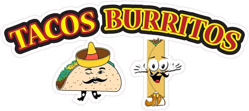 Food Truck Decals Tacos Burritos Concession Restaurant Die-Cut Vinyl Sticker A74 & Beverage Sign 24 in on Longest Side