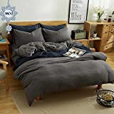 #5: MKXI Simple Bedroom Collection 3 Pieces Grey Queen Size Duvet Cover Set,Cross Printed