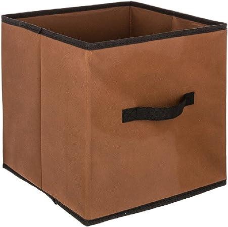 JJA Caja Cubo de almacenaje Color Chocolate 31 x 31 cm: Amazon.es: Hogar