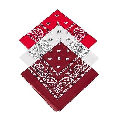 Rojo, Blanco, Granate) Juego de 3 pañuelos de cachemira pañuelo ...