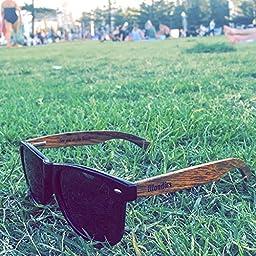 WOODIES Wayfarer Walnut Wood Sunglasses with Polarized Lenses