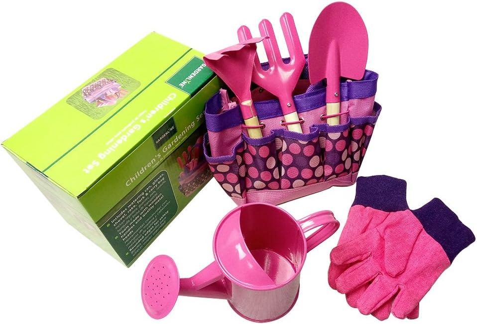 JOYKK Little Gardener Tool Set with Bag Kids Niños Jardinería Niños Chicas Regalo Juguetes - Rosa