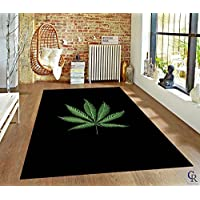 "Mary Jane Leaf Theme Weed Novelty Bedroom Living Room Area Rug Black (3' 11"" X 5' 2"")"