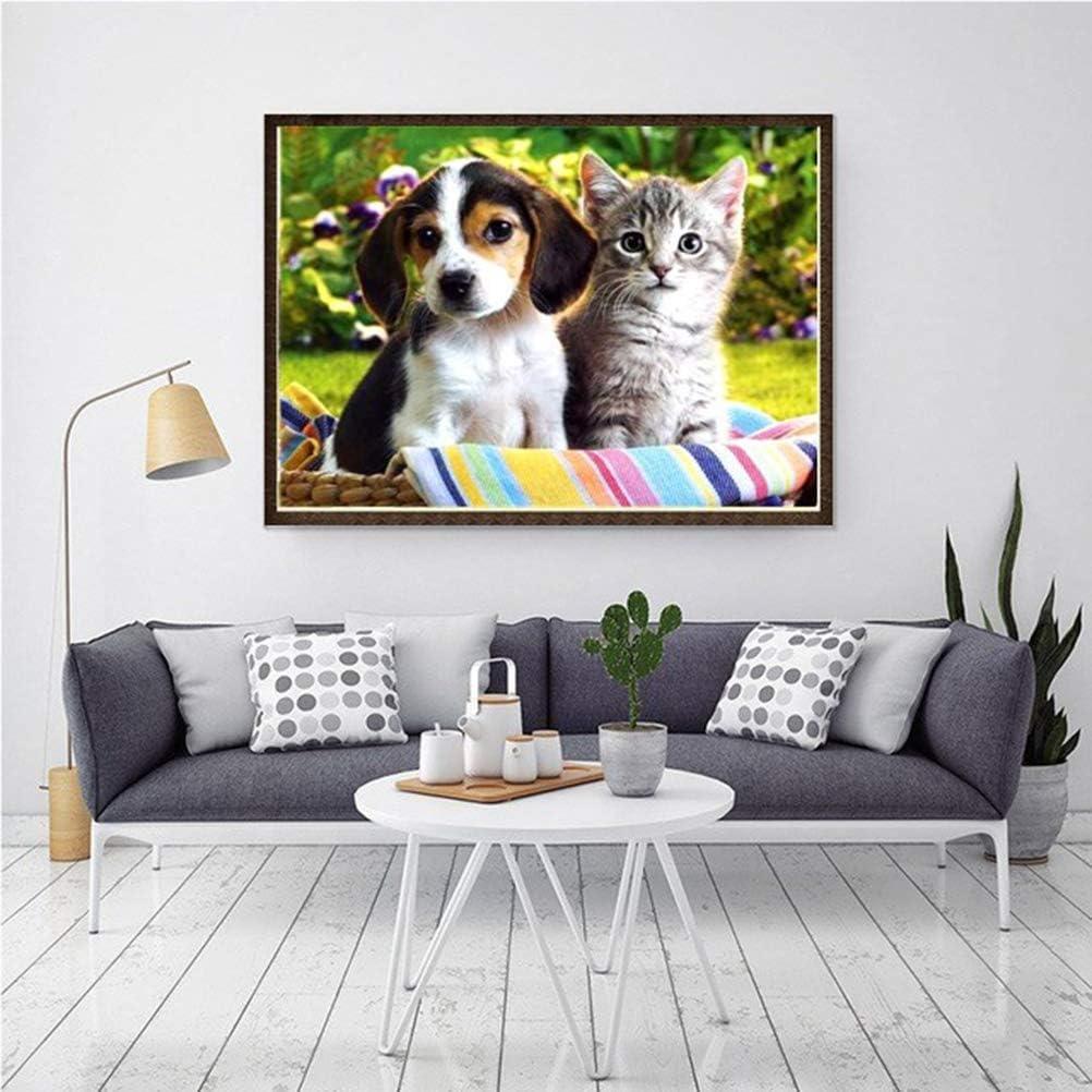Vosarea 5D DIY Diamond Painting Kit Animal Rhinestone Embroidery Cross Stitch Home Wall Decoration 40x30cm Puppy and Kitten