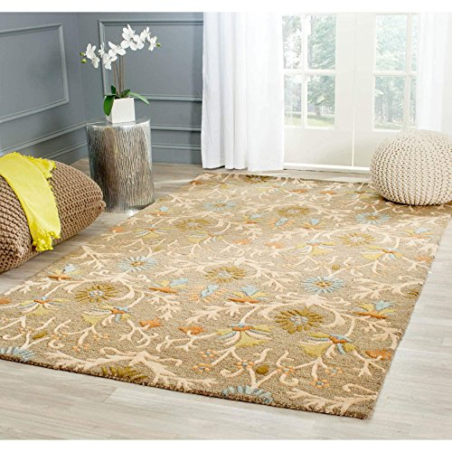 Safavieh Cambridge Collection CAM235A Handcrafted Moroccan Geometric Moss and Multi Premium Wool Square Area Rug (6' Square) (Area Rug Green Moss)