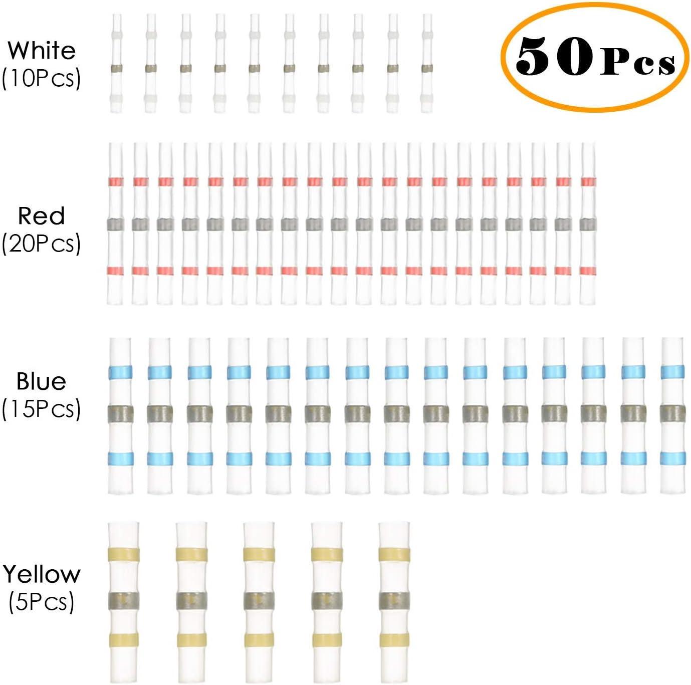 connecteurs isol/és cosses /à souder /électriques /étanches pour automobile thermor/étractables Lot de 50 connecteurs de fil /à souder