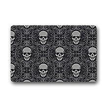 "Goodbath Funny Bath Mat Rugs -Skull Pattern Non-Slip Rectangle Floor Entryways Outdoor Indoor Front Door Mat Carpet - 15.7""x23.6"" ,White and Black"