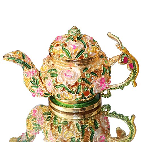 Waltz&F Flower teapot Trinket Box Hinged Hand-painted Figurine Collectible Ring Holder