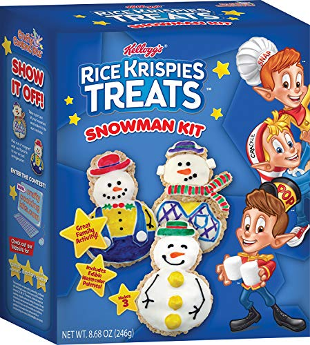 Marshmallow Christmas Treats (Kellogg's Rice Krispies Treats Snowman Kit - Perfect Christmas Treat, Holiday Candy, Holiday Decoration - Rice Krispies Treats, Mini Rice Krispies, Design Your Own Cookie)