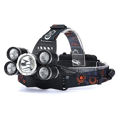 Lampe frontale à LED Lumière avec 4modes, 2400LM 5x T6les lampes de poche batterie éclairages avant Phare Lampe de poche avec 2piles 18650pour camping randonnée P&ecir