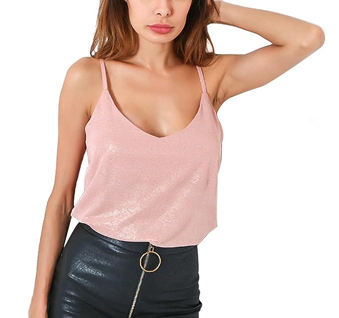 4721d0cade1 Estivo Canotte Donna Fashion Scollo V Pin up Senza Schienale Tank Tops  Maglietta Camicie Casual Tinta Unita Vest Bluse  Amazon.it  Abbigliamento