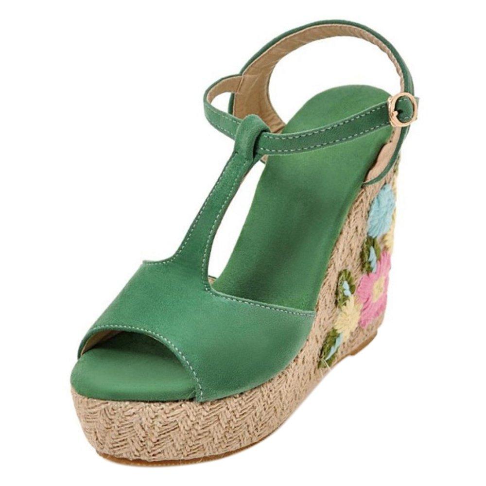 TAOFFEN Women Ankle Strap Wedge Heels Sandals B07C9S38FW 3 US = 22 CM|Green-4