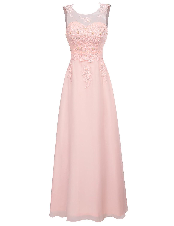 GRACE KARIN Damen Abendkleid Bodenlang Chiffon Standesamtkleid Spitze V Rücken Paillettenkleid CL670