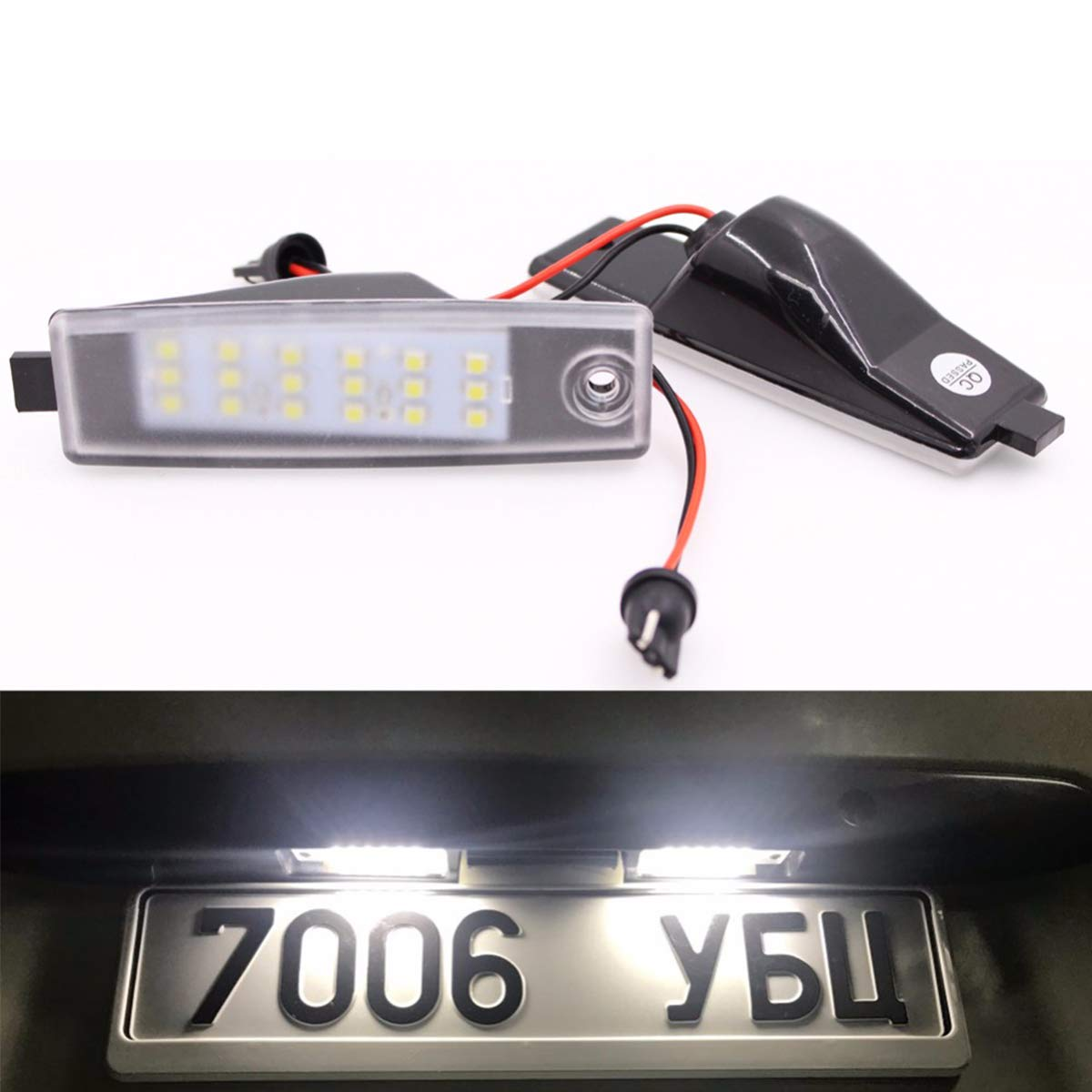 GOFORJUMP 2pcs/lot 18LED 3528SMD License Plate Light Lamp For T/oyota H/iace H200 2004-2012, V/anguard A/CA33W 2005-2010 Bright White