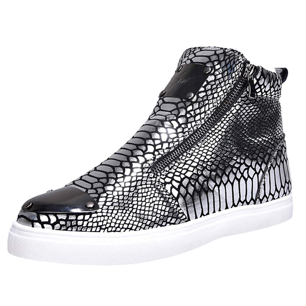 ZOMUSAR Men Shoes, Men's Casual Shoes High-heeled Shoes Personality Sequins Snakeskin Fashion Shoes by ZOMUSAR