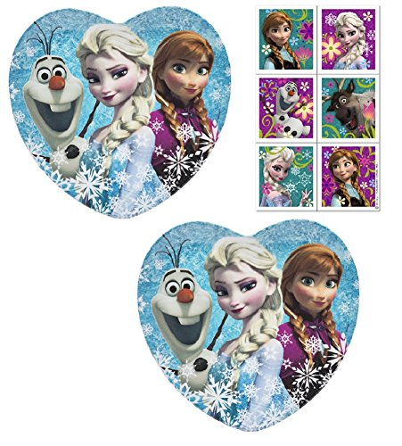 (Zak Frozen Heart Shaped Melamine Plates with Elsa Anna Olaf, Break-resistant and BPA-free - 2 Plates with Stickers )