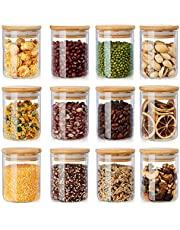 12 Pack Glass Jars Set, AIKWI 6oz Spice Jars with Bamboo Lids, Clear Glass Food Storage Containers, Kitchen Canisters Set for Sugar, Tea, Cookie, Coffee - Labels & Pen