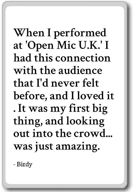 Imán para nevera con citas con texto en inglés «When I performance ...