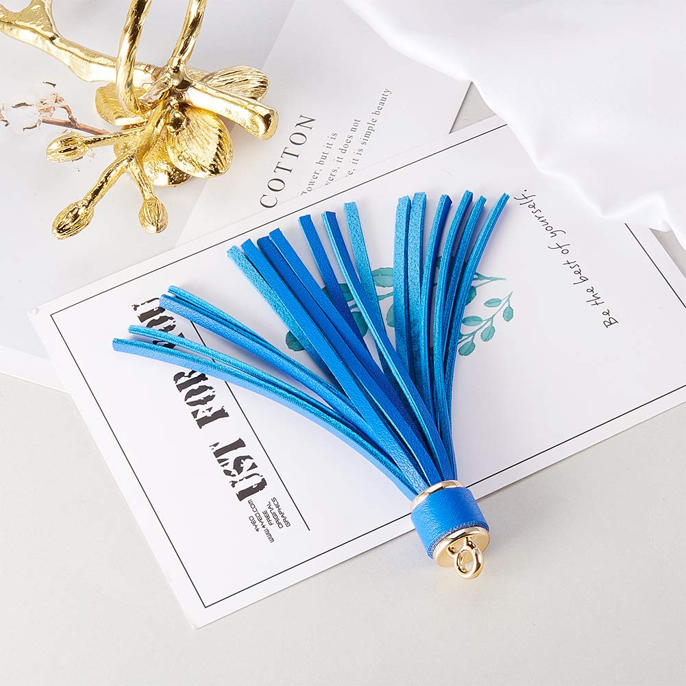 NBEADS 13 Pcs Tassel Pendants Jewelry Tassels Leather Tassels for DIY Jewelry Accessories Making 110x15mm Hole: 4mm Mixed Color