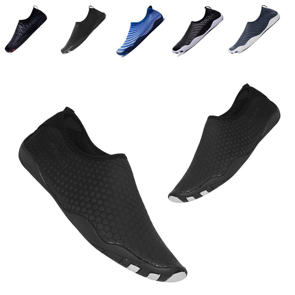 YALOX Men Women Water Shoes Outdoor Beach Swimming Aqua Socks Quick-Dry Barefoot Shoes for Surfing Yoga Exercise(BD/Black,45EU)