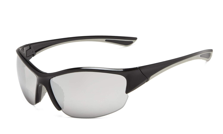 TALLA +2.50. Eyekepper Half-Frame Deportivas Gafas De Sol Bifocales +2.50 Gafas De Sol De Lectura (Plata Espejo)