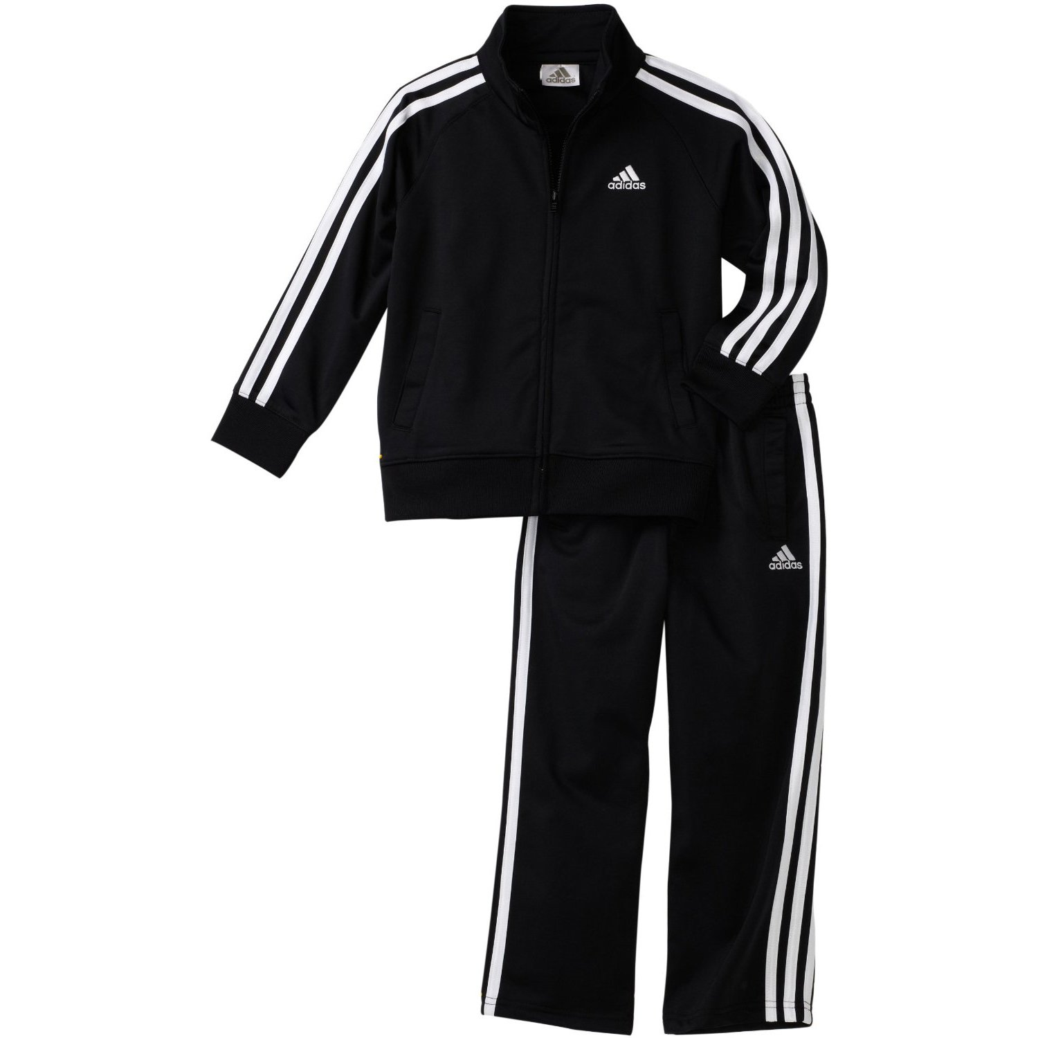 adidas Toddler Boys' Iconic Tricot Jacket and Pant Set, Black/White, 4T by adidas