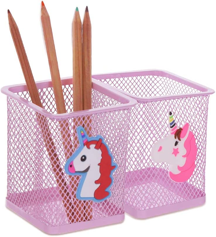Creproly Metal Cute Pen Pencil Holder Office Home Desk Square Pencil Cup Caddy Box Makeup Brush Holders for Girls - 2 Pack (Unicorn)